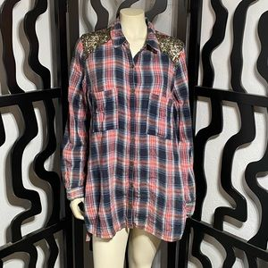 Free People Sequin Plaid Shirt